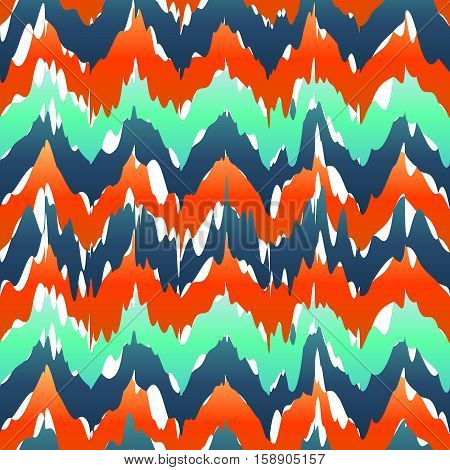 Vibrant Chevron Pattern. Spring Zig Zag Pattern Green Blue Color. Ikat Pattern Vector Red Green Blue