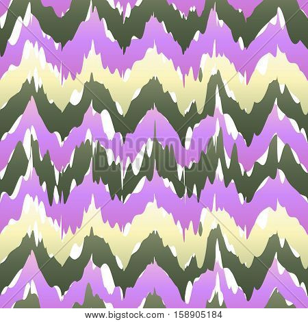 Vector Seamless Patter Design With Chevron Ikat Repeating Ornaments. Purple Pink Violet Beige