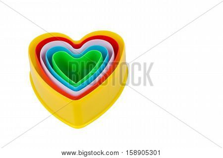 Heart shaped cookie cutter isolated on white background