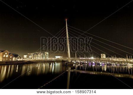 Swansea Sail Bridge  Night time at the River Tawe and the Millennium bridge in Swansea