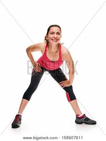 Fitness woman stretching, exercising training on white background