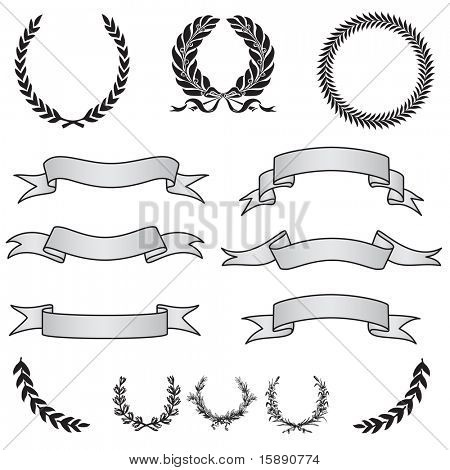 Vector Banner Ribbons and Wreaths