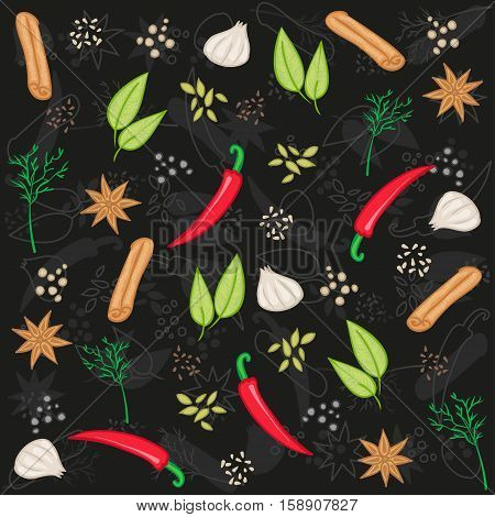 Vector seamless pattern with various seasonings on black background. Spices and herbs - vector food pattern. Seasonings background.