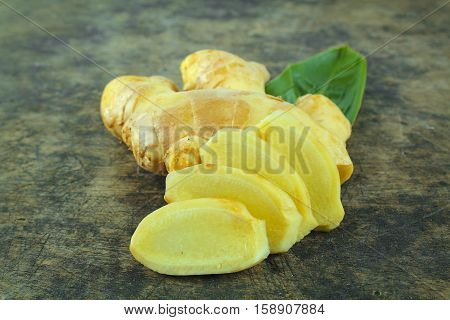 Fresh ginger on background,raw material for cooking