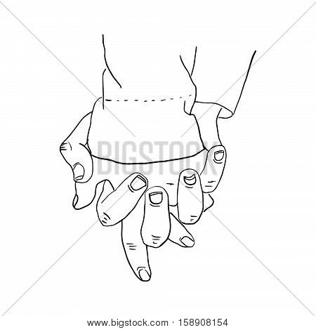 illustration  doodles hand drawn female and a male person holding hands. fingers interlacing