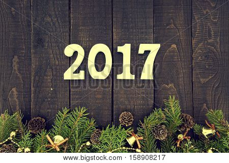 Composition With Decorated Christmas Tree And Number 2017 As A Symbol Of The Coming New Year. Happy
