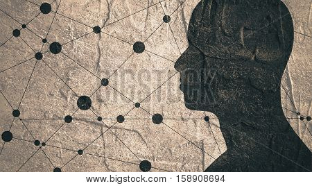 Silhouette of a man's head. Mental health relative brochure, report or book cover design template. Scientific medical designs. . Concrete textured