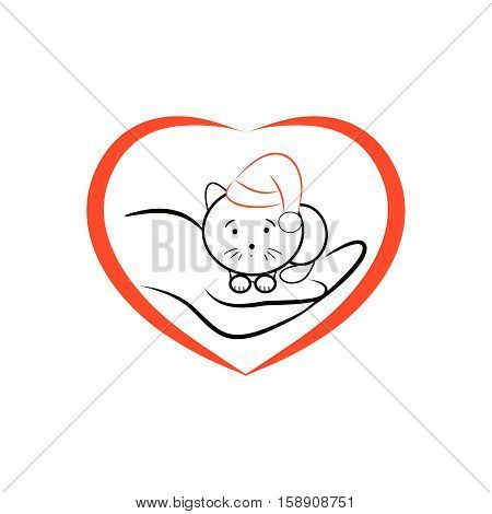 Kitten in Santa hat lying on the human hand. The symbol of caring and of lyuvi to animals. Vector illustration