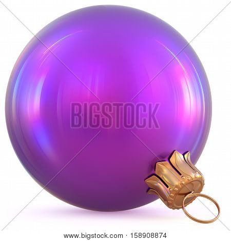 Christmas ball purple decoration New Year's Eve bauble wintertime hanging adornment souvenir. Traditional ornament happy winter holidays Happy Merry Xmas symbol blue blank shiny. 3d illustration