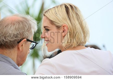 Kristen Stewart, Woody Allen attends the 'Cafe Society' Photocall during The 69th Annual Cannes Film Festival on May 11, 2016 in Cannes, France.