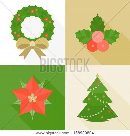 Christmas ornament flat design with long shadow, pine tree, wreath, mistletoe, Christmas flower