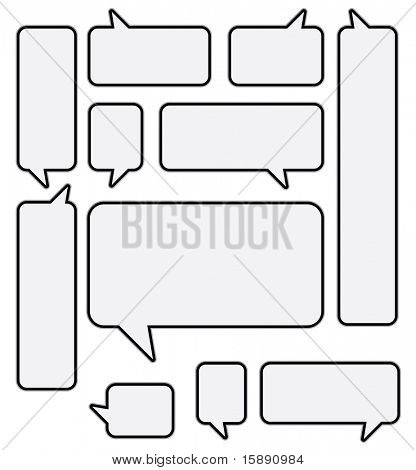 Set of vector rounded speech bubbles. Very easy to edit!