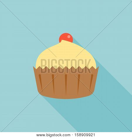 Cupcake icon, cake and cherry illustration with long shadow, flat design