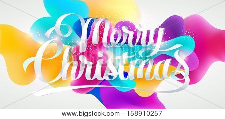 Christmas card with calligraphic inscription, Realistic colorful design.