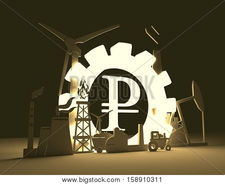 Energy and Power icons set on blueprint backdrop. Sustainable energy generation and heavy industry. 3D rendering. Luminous Rouble sign