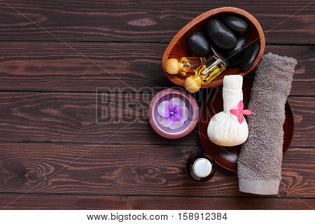 Spa and massage treatment for health body this picture is high angle shots or bird's eye view.