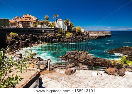 the seafront near the beach of San Telmo in Puerto de la Cruz Tenerife Spain