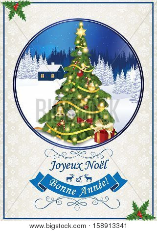 French seasons greetings, classic winter card. We wish you Merry Christmas and Happy New Year (French: Nous vous souhaitons Joyeux Noel et une Bonne Annee). Print colors used.