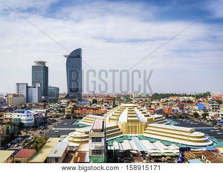 central market landmark and skyscrapers view in phnom penh city cambodia