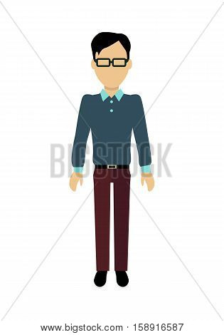 Male character without face in blue shirt vector. Flat design. Man template personage illustration for concepts with humans, mobile app pictogram, logos, infographic. Isolated on white background.