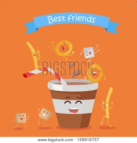 Best friends, food banner. Happy fast food cartoon characters rejoice and dance. French fries, donuts and cola in plastic glass cartoon characters. Animated food on orange background