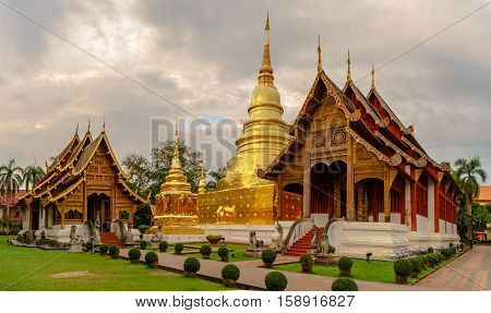Wat Phra Singh in twilight time Chiang Mai Thailand