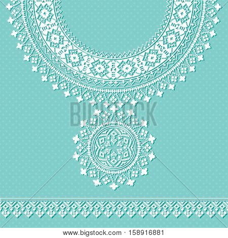 Vector vintage necklace Embroidery for fashion women. trendy retro collar for print or web design. jewelry, necklace, print on fabric.