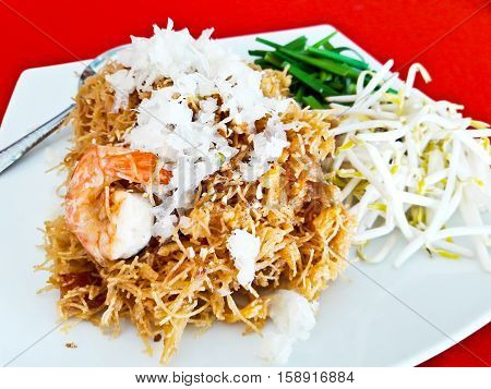 Mixed Crispy Rice Noodle with shrimp or Mi krop Srong Kreung in Thai language Thai food style concept and homemade idea