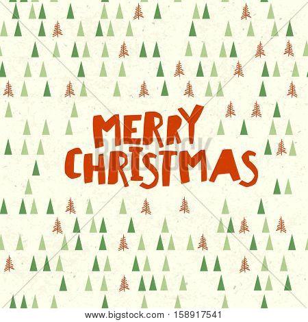Merry Christmas Postcard. Xmas trees pattern. Vector illustration.