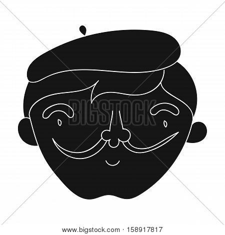 Self-portrait of artist icon in black style isolated on white background. Artist and drawing symbol vector illustration.