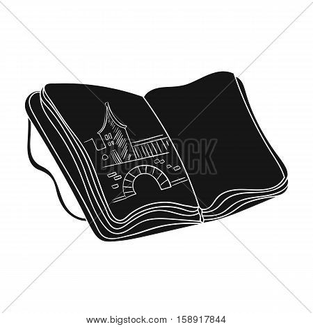 Sketchbook with drawings icon in black style isolated on white background. Artist and drawing symbol vector illustration.