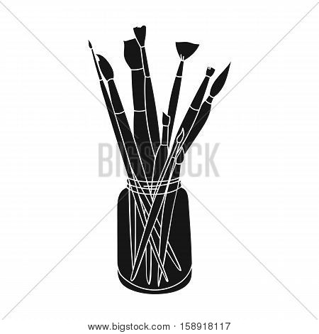 Paintbrushes for painting in the jar icon in black style isolated on white background. Artist and drawing symbol vector illustration.