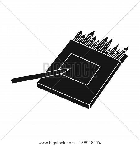 Colored pencils for drawing in box icon in black style isolated on white background. Artist and drawing symbol vector illustration.