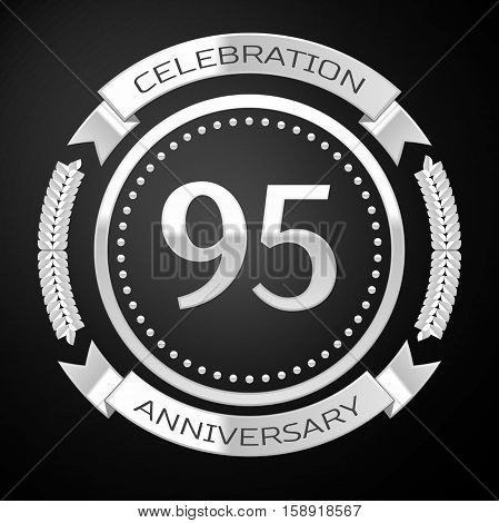 Ninety five years anniversary celebration with silver ring and ribbon on black background. Vector illustration