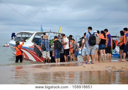 PATTAYA THAILAND - 22 NOV 2016: Speed boat parking on Pattaya bay waiting tourist for Koh Larn Island Pattaya city famous tourist attraction of Thailand.