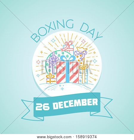 Calendar for each day on December 26. Greeting card. Holiday - Boxing Day. Icon in the linear style