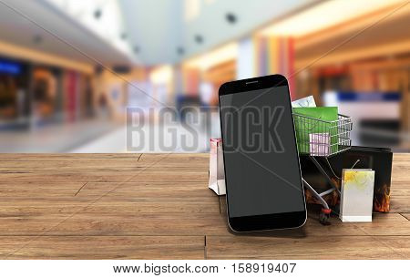 Packets Next To The Phone And A Trolley For Supermarkets On Wooden Flor 3D Illustration