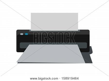 Printer with paper vector in flat style. Office equipment. Personal documents and photo printing. Illustration for computer peripherals shop advertising. Isolated on white background