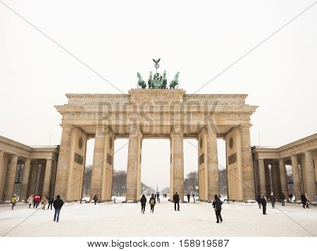 BERLIN GERMANY - JANUARY 6 2016: The Brandenburger Tor one of the best-known landmarks and national symbols of Germany