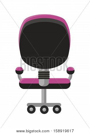 Purple office armchair icon. Office armchair in colorful flat design style. Armchair on wheels. Office workplace design element. Isolated object on white background. Vector illustration.