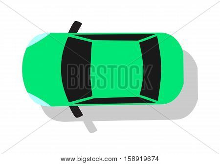 Green car from top view vector illustration. Flat design auto. Illustration for transport concepts, car infographic, icons or web design. Delivery automobile. Isolated on white background