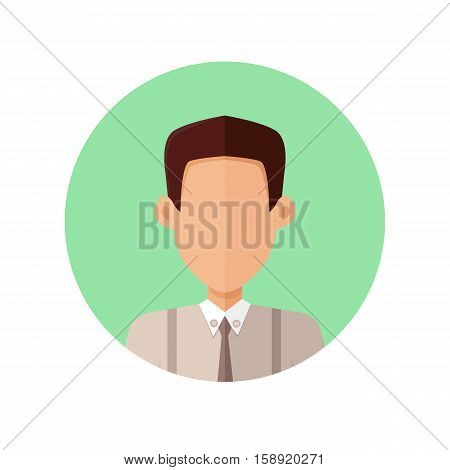 Young man private avatar icon. Young brunette man in gray shirt and tie. Social networks business private users avatar pictogram. Isolated vector illustration on white background.