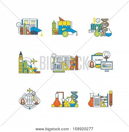 Education, learning technology, research, experiments, communications, curriculum, study of foreign languages icons set over white background. Flat line icons for infographics design elements.