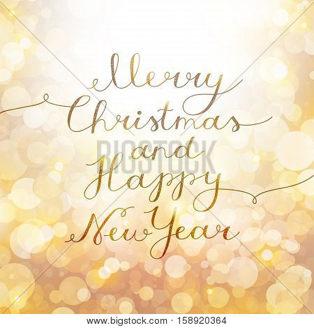 merry christmas and happy new year, vector lettering, handwritten text on background with lights