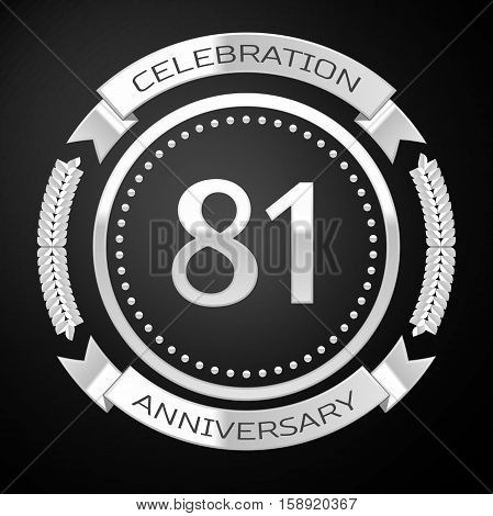Eighty one years anniversary celebration with silver ring and ribbon on black background. Vector illustration