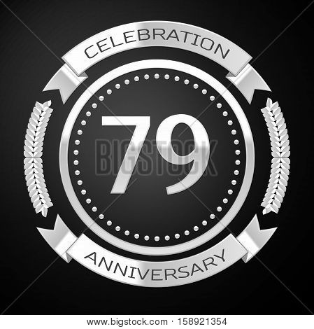 Seventy nine years anniversary celebration with silver ring and ribbon on black background. Vector illustration