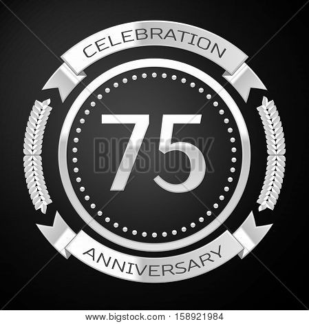 Seventy five years anniversary celebration with silver ring and ribbon on black background. Vector illustration