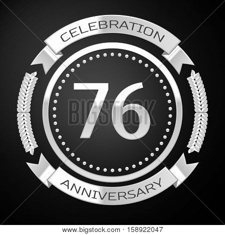 Seventy six years anniversary celebration with silver ring and ribbon on black background. Vector illustration