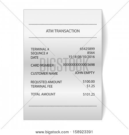 atm transaction printed paper receipt bill vector