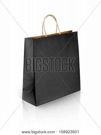 black recycled paper kraft shopping bag isolated on white background